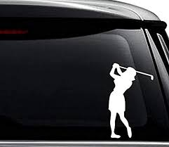 Amazon Com Women Golf Golfing Golfer Decal Sticker For Use On Laptop Helmet Car Truck Motorcycle Windows Bumper Wall And Decor Size 6 Inch 15 Cm Tall Color Gloss White Arts