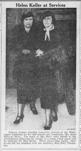 Photo of Helen Keller and Polly Thompson at funeral for Anne ...