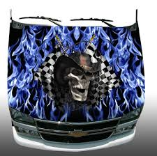 Racing Skull Checkered Flag Blue Flame Fire Vehicle Hood Wrap Etsy