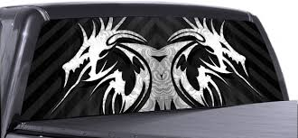 Amazon Com Vuscapes White Tribal Dragon Rear Window Truck Graphic Decal Suv View Thru Vinyl Automotive