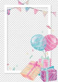 watercolor gift box balloon border