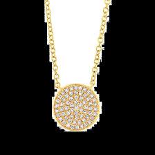 14k yellow gold round pave diamond disc