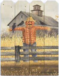 Amazon Com Home Cabin Decor Scatterbrains By Billy Jacobs 9x12 Print On Wood Picket Fence Scarecrow Crows Barn Autumn Fall Split Log Fence Art Picture Wall Hanging Plaque Home Kitchen