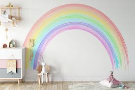 Seven Colours Of The Rainbow Wall Mural Colorful Rainbow Wall Mural Rainbow Wallpaper Wall Decor Nursery And Room Decor Wall Art In 2020 Rainbow Wall Decal Rainbow Room Rainbow Wall