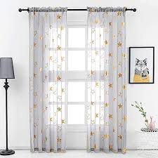 Amazon Com Star Sheer Curtains Grey For Kids Room Metallic Gold Star And Moon Pattern Printed Curtain Panel 63 Inch Length Rod Pocket Voile Star Curtains For Bedroom 52 X 63 Inch