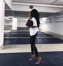 style patent black skinny leather pants
