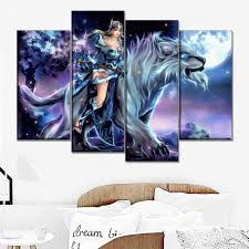 Canvas Painting 4 Pieces The Moon Night Dota 2 Beast And Warrior Mirana Game Poster Wall Art Home Decor Printed Type Picture Painting Calligraphy Aliexpress