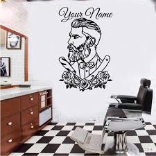 Barber Shop Vinyl Wall Decal Tattoo Hipster Custom Name Wall Sticker Man Living Room Decals Barber Shop Removable Poster Hl270 Wall Stickers Aliexpress