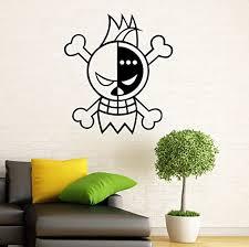 Amazon Com Monkey D Luffy Logo Wall Decal Manga Anime One Piece Vinyl Sticker Home Interior Bedroom Mural Door Sticker 11m01dl Kitchen Dining