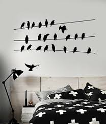Vinyl Wall Decal Abstract Flock Of Birds On Electric Wire Stickers 2443ig Ebay