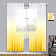 Amazon Com Yellow Curtains For Girls Room Set Of 2 Panels Rod Pocket Linen Look Semi Sheer Voile Drapes Ombre Window Curtains For Bedroom Living Room Spring Decor Teen Kids Baby Nursery Boys