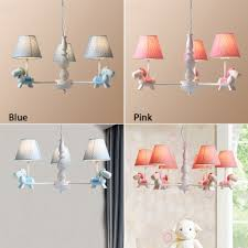 3 5 Lights Tapered Chandelier With Rocking Horse Baby Kids Room Blue Pink Fabric Shade Hanging Lamp Beautifulhalo Com