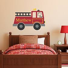 Firetruck Wall Decal Personalized Boy Name Wall Decal Fire Truck Wall Sticker B01fe25nci