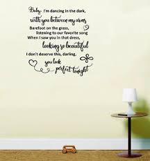 Perfect Ed Sheeran Love Song Lyrics Wedding Wall Art Home Decor Sticker Decal Ebay