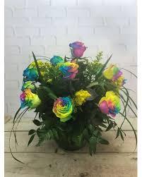 one dozen rainbow roses lehrer s flowers