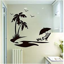 Amazon Com Bulnn Beach Style Wall Sticker Palm Tree With Birds Pattern Wall Decals Summer Vacation Vinyl Poster Home Summer Decoration Art 42x38cm Kitchen Dining