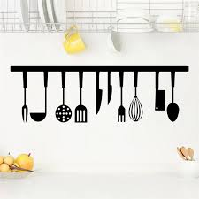 Diy Wall Art Paper Mural Cooking Utensils 3d Vivid Kitchen Tools Restaurant Wall Stickers Decals Kitchen Decoration Home Decor Wish