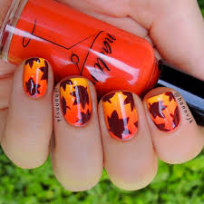 fall leaves nail art pictures photos