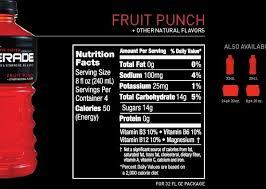 powerade zero nutrition facts label