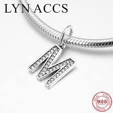 925 sterling silver alphabet m crystal