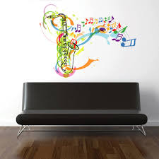 Cik362 Full Color Wall Decal Sax Music Note Jazz Lounge Bedroom Stickersforlife