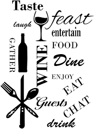 Amazon Com Kitchen Words Vinyl Wall Art Stickers Dining Food Wine Inspirational Quotes Is A Unique Design Displaying Wine And Dine Decorative Wall Sticker Size 22 X 30 Many Colors Black Home Kitchen