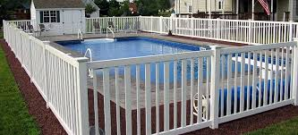 Vinyl Pool Fence And Vinyl Pool Fencing By A Vinyl Fence And Deck Wholesaler Backyard Fences Front Yard Fence Fence Design