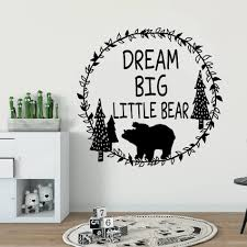 Woodland Bear Vinyl Wall Decal Dream Big Little Bear Quote Wall Sticker Forest Theme Kids Room Decor Wreath Design Art Az861 Wall Stickers Aliexpress