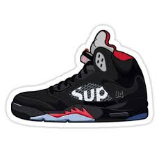 Air Jordan 5 Supreme Sticker By Pabloqsd Sneakers Illustration Supreme Sticker Air Jordans
