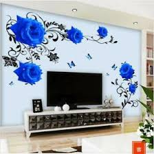 Wall Sticker Blue Rose Vine Wall Decal Mural Living Room Bedroom Removable Home Ebay