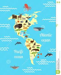Ameryka Zwierząt światowa Mapa Dla Dzieci Ilustracja Wektor ...