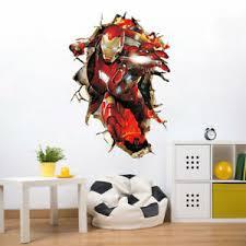 3d Avenger Wall Sticker Broken Wall Iron Man Wall Decals Boys Room Cartoon Decor Ebay