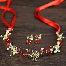 set chinese bride hair accessories red