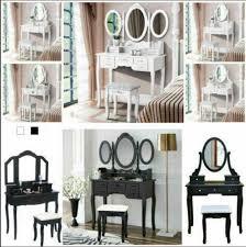 bench black gl tilt mirror 2 drawers