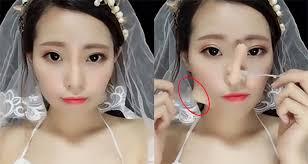 fake nose chinese women remove