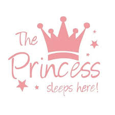 Akoada The Princess Sleeps Here Wall Sticker Pink Crown Home Decor Living Room Decor Removable Vinyl Sticker On The Wall For Kids Girl Wall Stickers Walmart Com