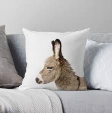 Donkey Print Nursery Animal Kids Room Modern Art Wall Decor Throw Pillow By Juliaemelian Redbubble