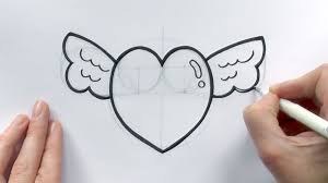 how to draw a cartoon love heart with