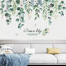 Amazon Com Tanoky Hanging Green Vine Wall Decals Peel And Stick Leaves Plants Flowers Wall Stickers Decal Art Decor Waterproof Diy Wall Decor For Living Room Bedroom Kitchen Playroom Nursery Room Green Home