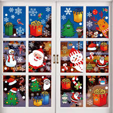 Amazon Com 12 Sheet Christmas Window Clings Snowflake Decals Christmas Stickers Decorations For Holiday Santa Claus Elf Reindeer Ornaments Christmas Window Decals Xmas Party Supplies Kitchen Dining