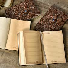 retro phoenix embossed leather notebook