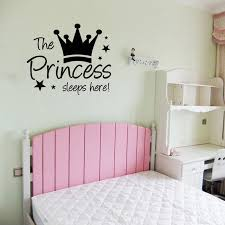 The Princess Sleeps Here Girls Wall Sticker Cute Crown Diy Home Decor Vinyl Wall Decal For Bedroom 59x49cm Cute Home Decor Olivia Decor Decor For Your Home And Office