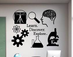 Science Wall Decal Learn Discover Explore Science Classroom Decal Science Wall Art Science Decal