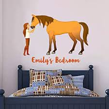Amazon Com Spirit Riding Free Wall Sticker Lucky Spirit Personalised Name Wall Decal Vinyl Kids Bedroom Art 120cm Width X 100cm Height Baby