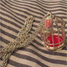 silver birdcage pendant necklace
