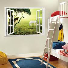 3d Window Wall Art Mural Sticker White Horse On The Grassland Wall Decoration Paper Poster Sun View Window Decal Sticker Banksy Wall Stickers Bathroom Wall Decals From Magicforwall 1 84 Dhgate Com