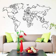 Modern World Map Wall Sticker For Bedroom Decor Kids Rooms Diy Room Decoration Vinyl Art Decal Wall Paper Murals Wall Stickers Aliexpress