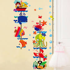 Cute Kawaii Kids Removable Home Decor Aquatic Creatures Plastic Art Height Wall Stickers Decal Wallpaper For Living Room Bedroom Cute Home Decor Olivia Decor Decor For Your Home And Office