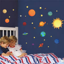 Solar System Wall Stickers For Kids Rooms Stars Outer Space Sky Wall Decals Planets Earth Sun Saturn Mars Poster Mural Sticker For Kids Room Solar System Wall Stickerswall Stickers For Kids Aliexpress