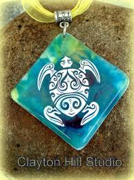 sea turtle necklace fused glass
